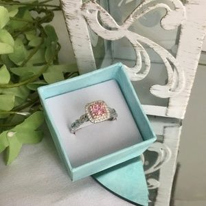 925 Sterling Silver Pink CZ Engagement Ring